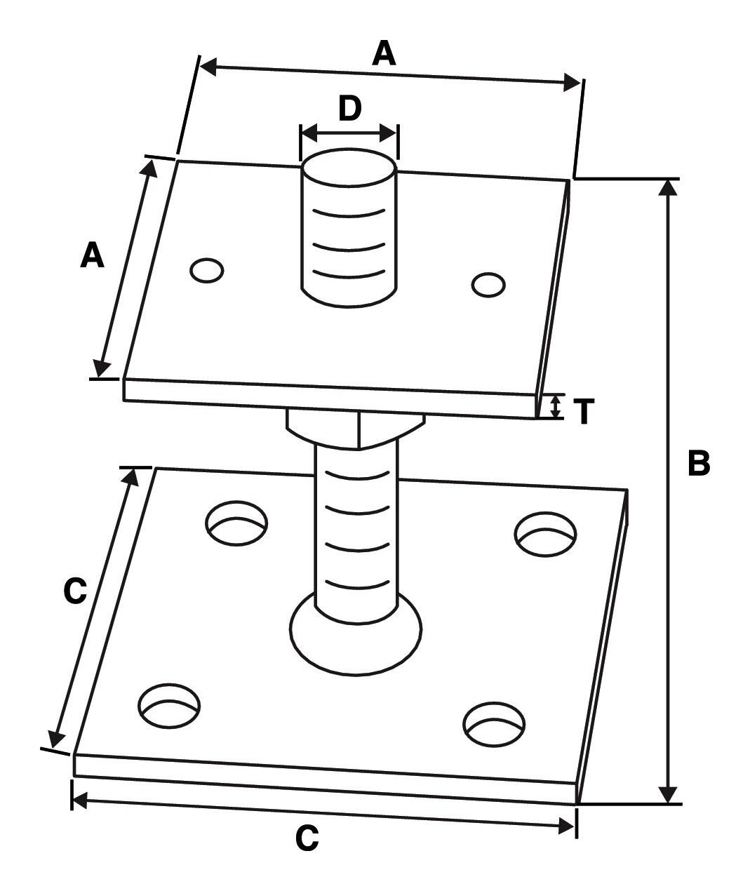 Pfostenhalter PCN70-R - PCN70-R