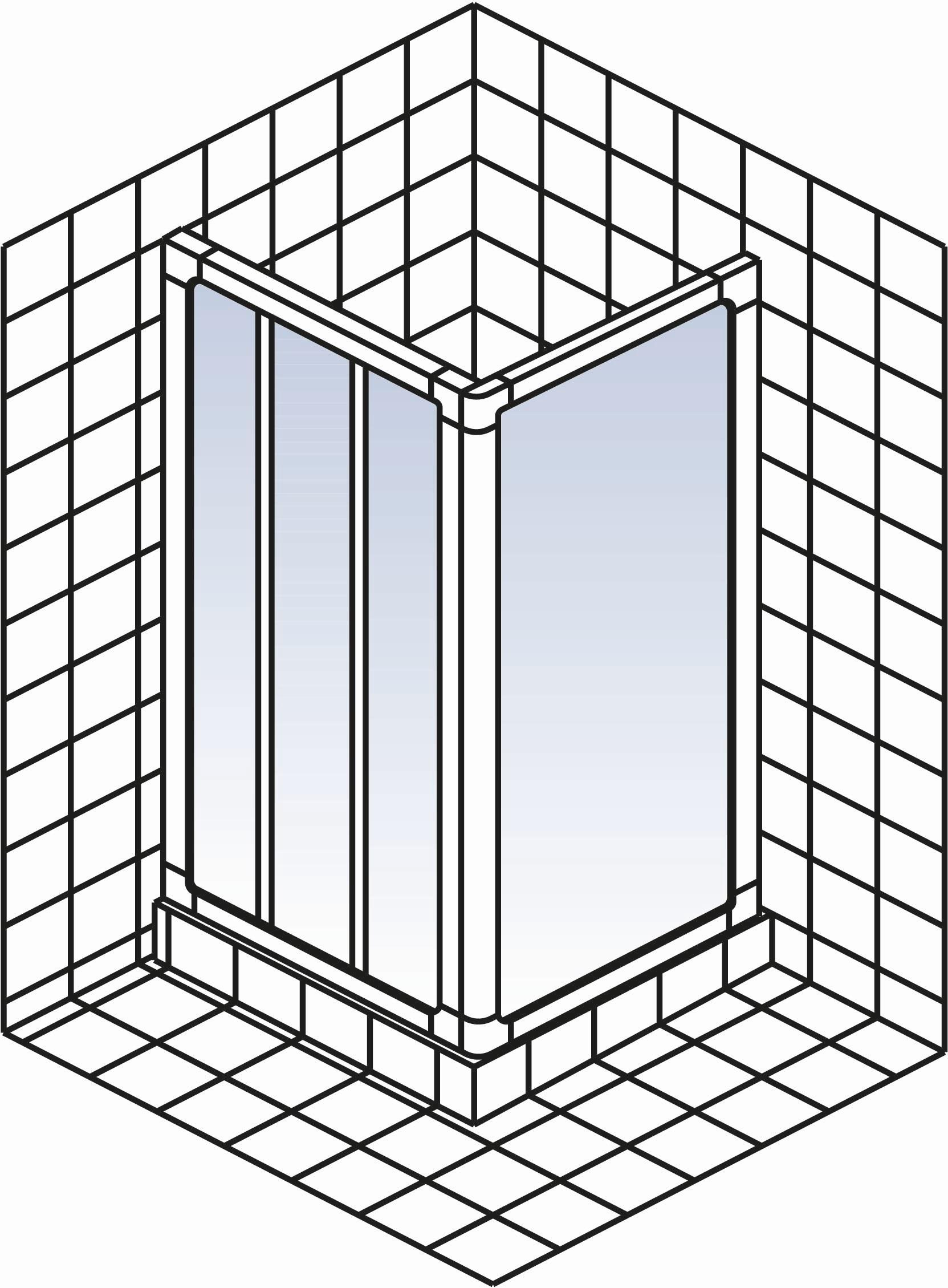 schulte kristall trend gleitt r 3 teilig mit seitenwand d10500x d30500x. Black Bedroom Furniture Sets. Home Design Ideas