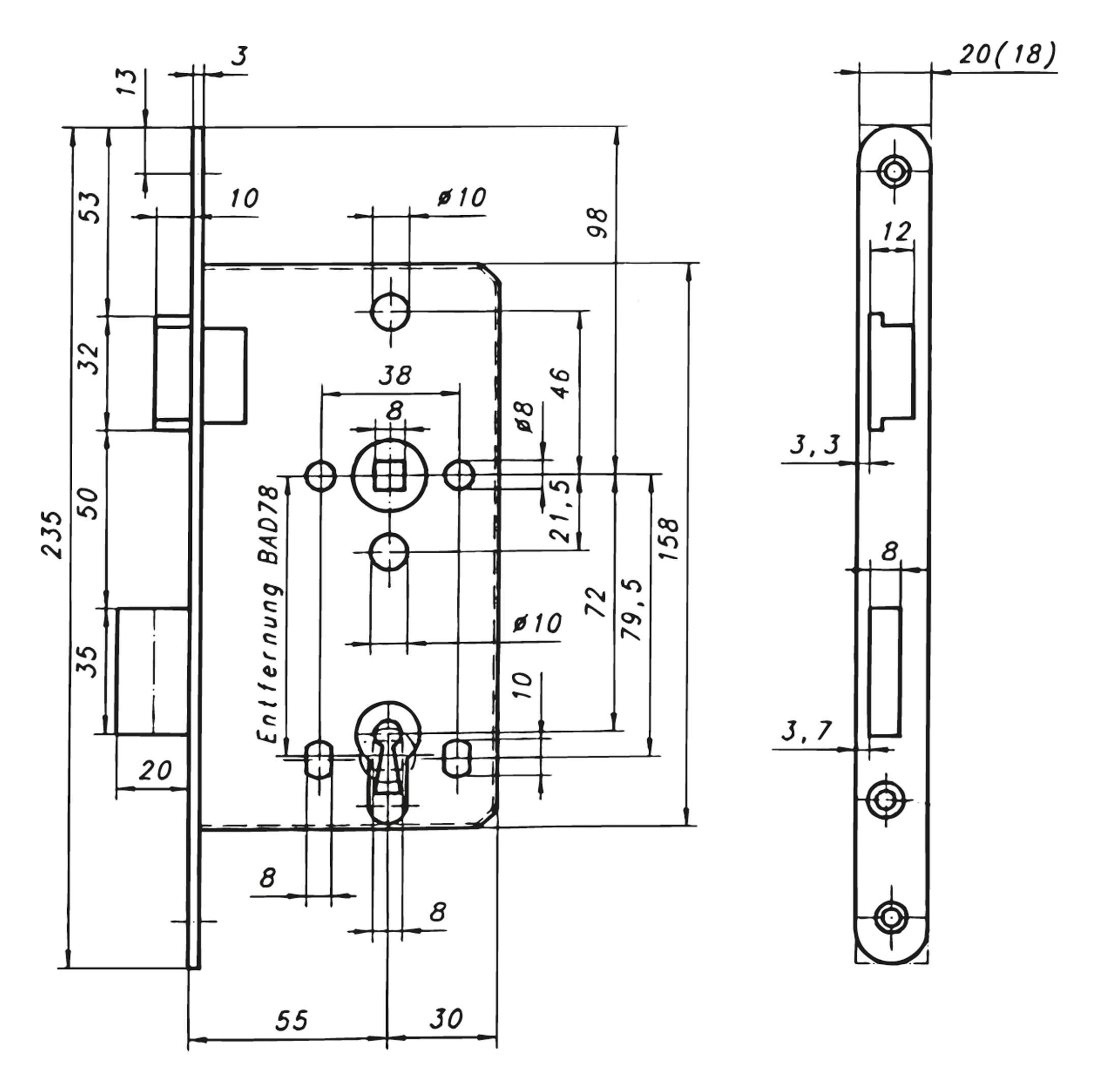 sächsische schlossfabrik zimmertür-einsteckschloss 8/55/ 78mm wc din