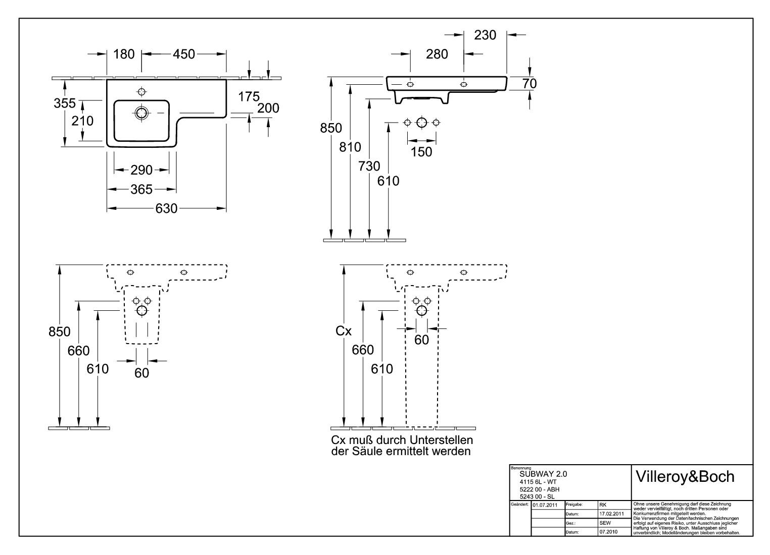 villeroy boch avento subway 2 0 und legato ablaufhaube halbs ule wei alpin 52220001. Black Bedroom Furniture Sets. Home Design Ideas