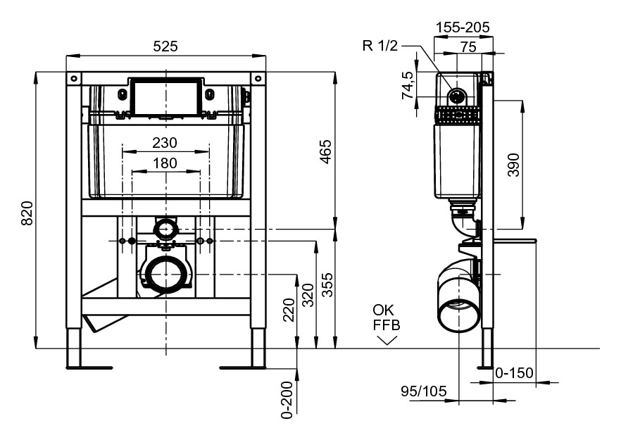 villeroy boch viconnect vorwandelement wc element f r trockenbau bet tigung von oben 92247500. Black Bedroom Furniture Sets. Home Design Ideas