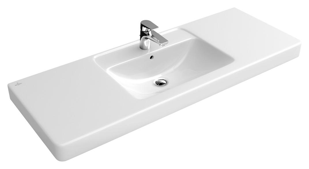 Villeroy & Boch Architectura Waschtisch 1300 x 485 mm mit Hahnloch mit  Überlauf Weiß Alpin CeramicPlus