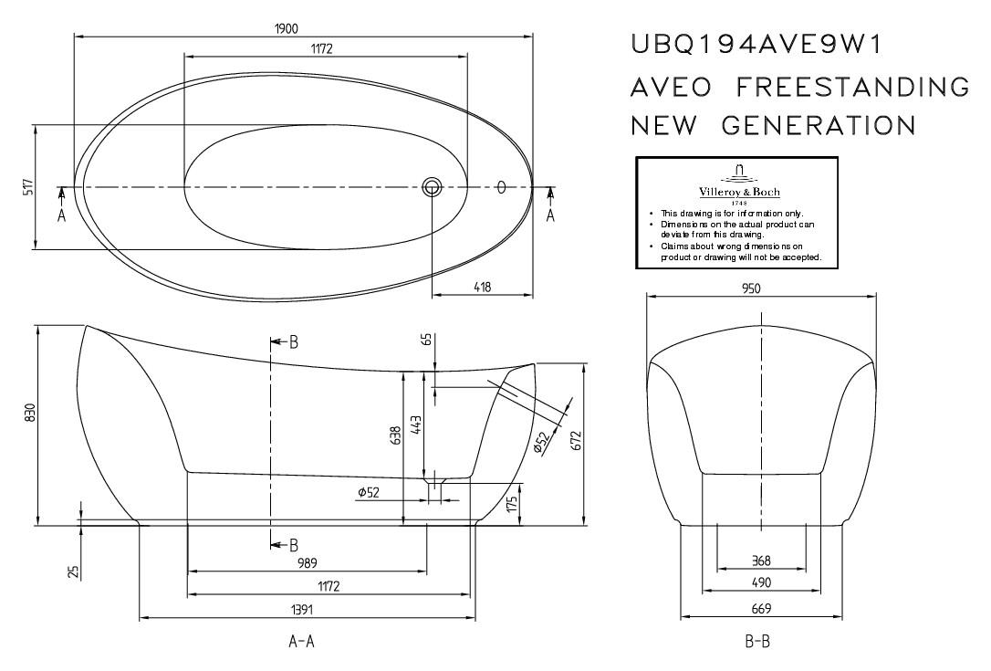 villeroy boch aveo new generation freistehende badewanne 1900 x 950 mm wei alpin. Black Bedroom Furniture Sets. Home Design Ideas