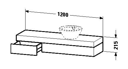 duravit fogo waschtisch konsole 1200 x 215 x 360 mm mit 1 schubkasten f r aufsatzschalen oder. Black Bedroom Furniture Sets. Home Design Ideas