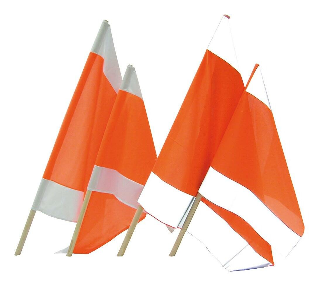 Warnflagge 75 x 75 cm mit Holzstiel 100 cm - 051531