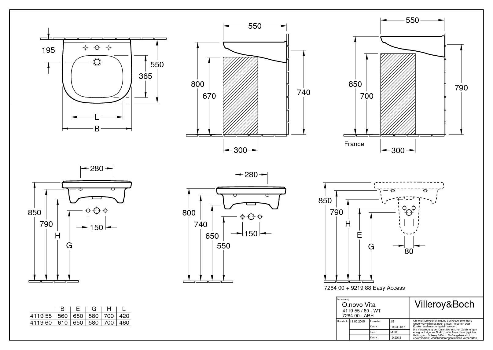 villeroy boch o novo vita waschtisch 600 x 550 mm mit hahnloch mit berlauf wei alpin. Black Bedroom Furniture Sets. Home Design Ideas