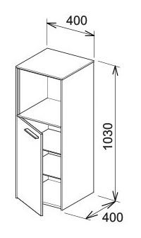 keuco royal 60 mittelschrank 400 x 1030 x 400 mm links. Black Bedroom Furniture Sets. Home Design Ideas