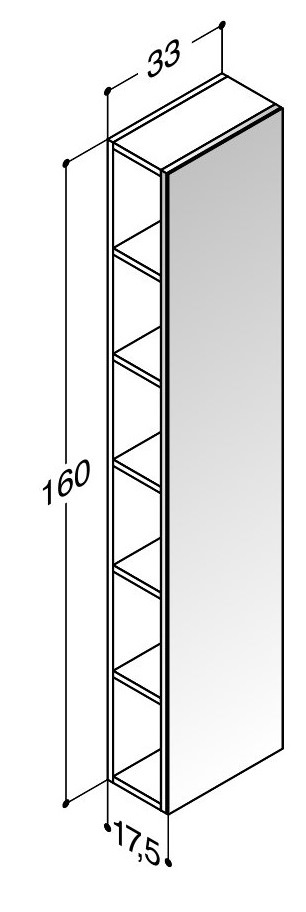 scanbad delta regal mit spiegel 33cm x 160cm grau hochglanz n131170. Black Bedroom Furniture Sets. Home Design Ideas