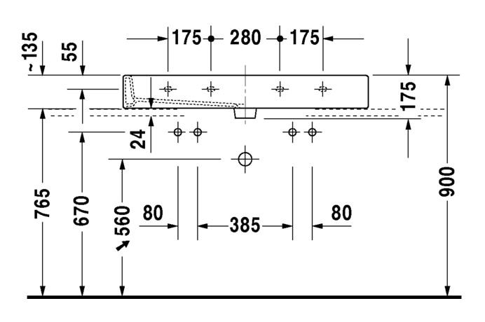 duravit vero doppelwaschtisch 1000 x 470 mm geschliffen mit 2x1 hahnloch und berlauf wei. Black Bedroom Furniture Sets. Home Design Ideas