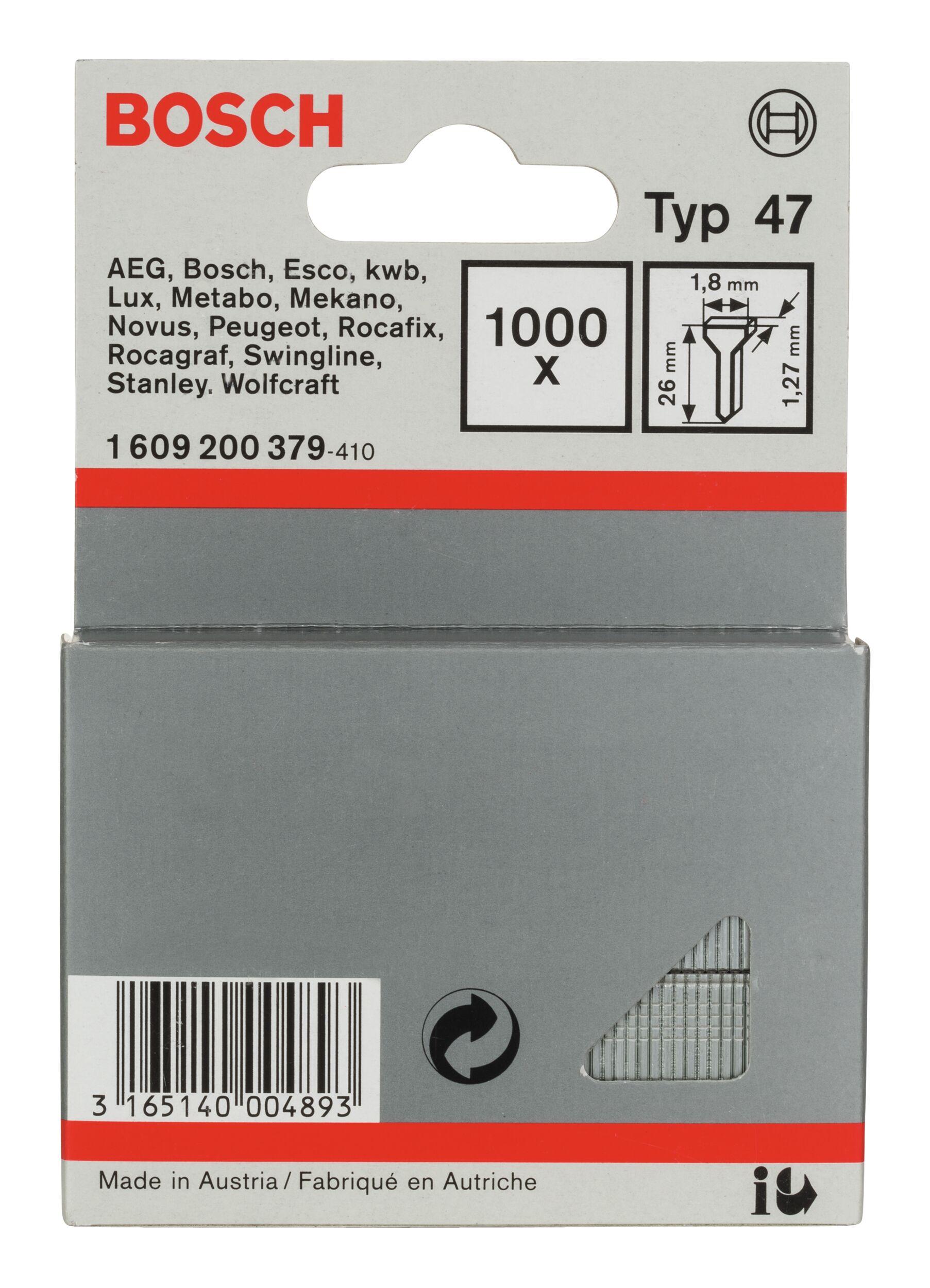 Bosch Zubehör Typ 47 Tackernagel - 1,27 x 26 x 1,8 mm -... 1609200379 (1.000 Stück)