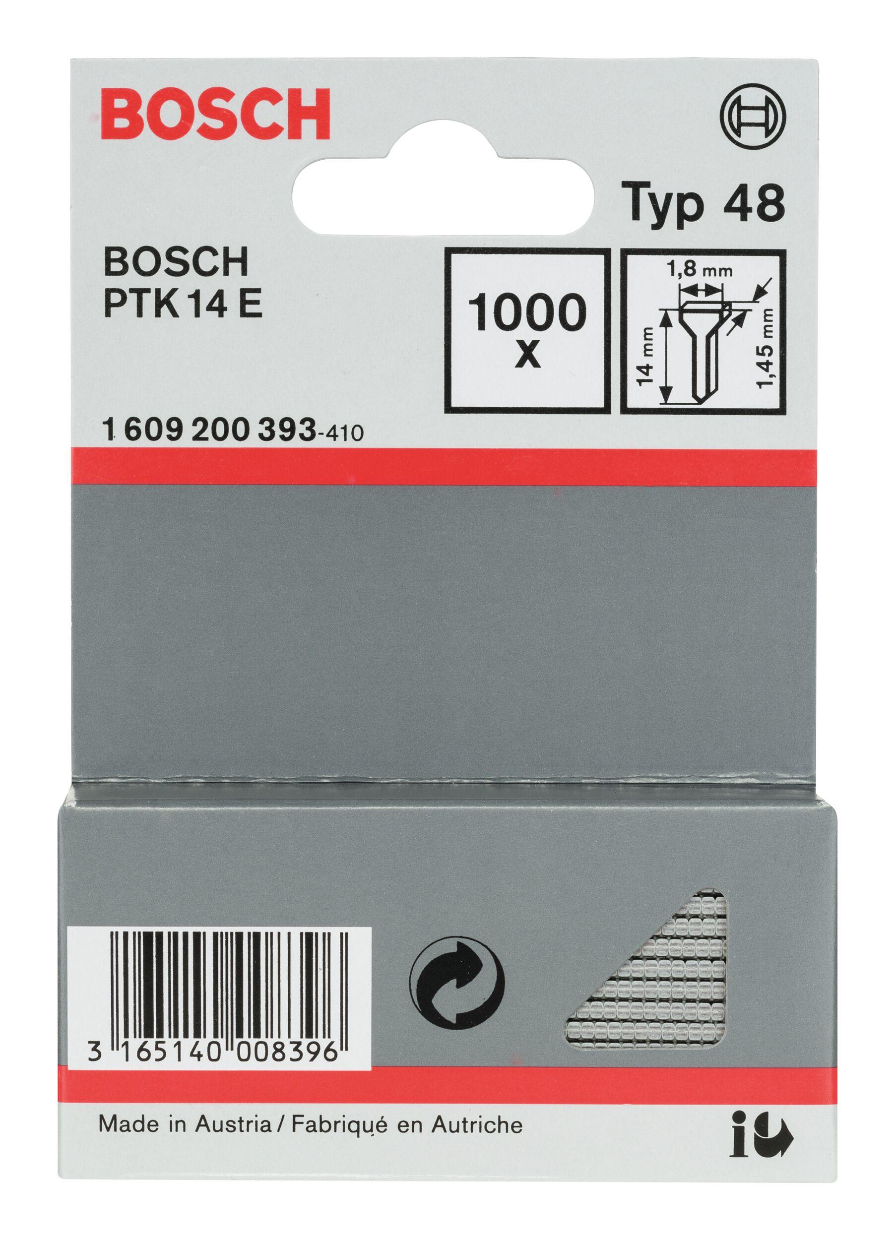 Bosch Zubehör Typ 48 Tackernagel - 1,45 x 14 x 1,8 mm -... 1609200393 (1.000 Stück)