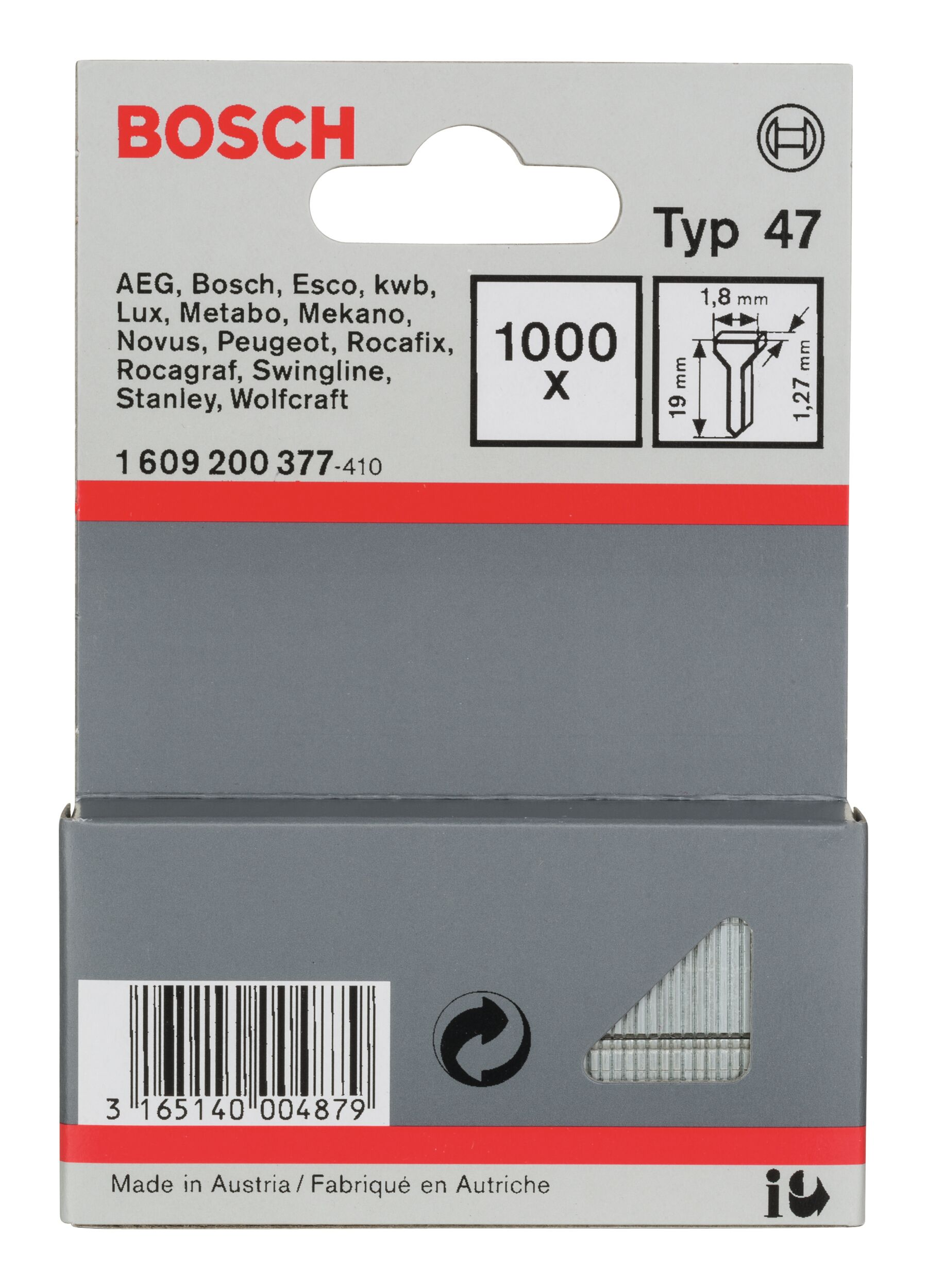 Bosch Zubehör Typ 47 Tackernagel - 1,27 x 19 x 1,8 mm -... 1609200377 (1.000 Stück)