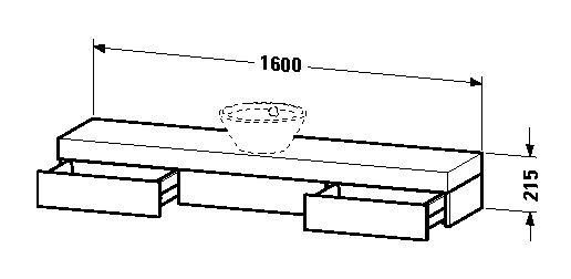 duravit fogo waschtisch konsole 1600 x 215 x 360 mm mit 2. Black Bedroom Furniture Sets. Home Design Ideas