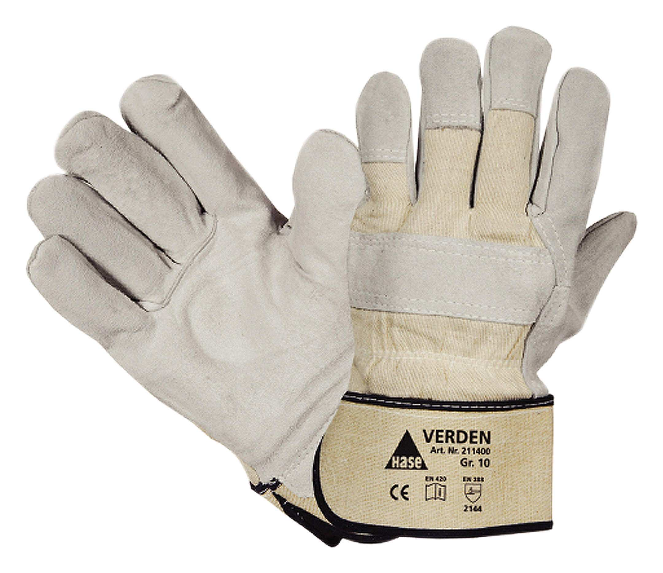 Hase Safety Handschuh Verden Spaltleder Größe 10 grau MW - 211400 VERDEN (VPE: 12 Paar)