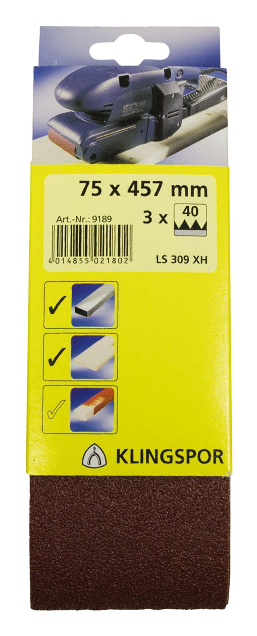 Klingspor Kurzband SB 3 Stück 75x 533mm K60-7019