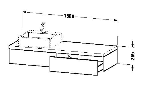 duravit delos waschtisch konsole 1500 x 265 x 565 mm mit 2. Black Bedroom Furniture Sets. Home Design Ideas