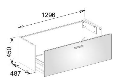 keuco royal universe waschtischunterbau 1296 x 450 x 487 mm mit frontauszug glas wei wei. Black Bedroom Furniture Sets. Home Design Ideas