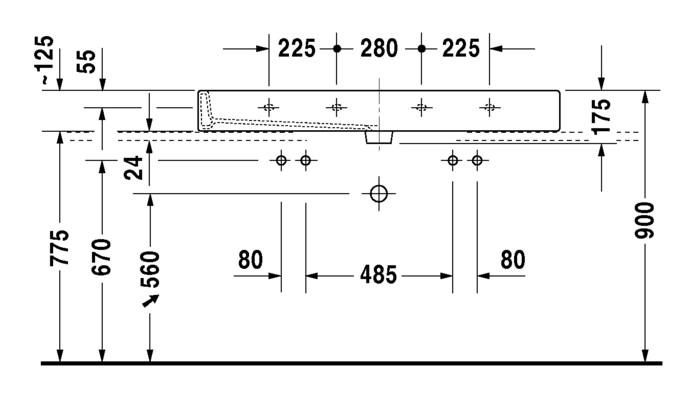 duravit vero doppelwaschtisch 1200 x 470 mm geschliffen mit 2x1 hahnloch und berlauf wei. Black Bedroom Furniture Sets. Home Design Ideas