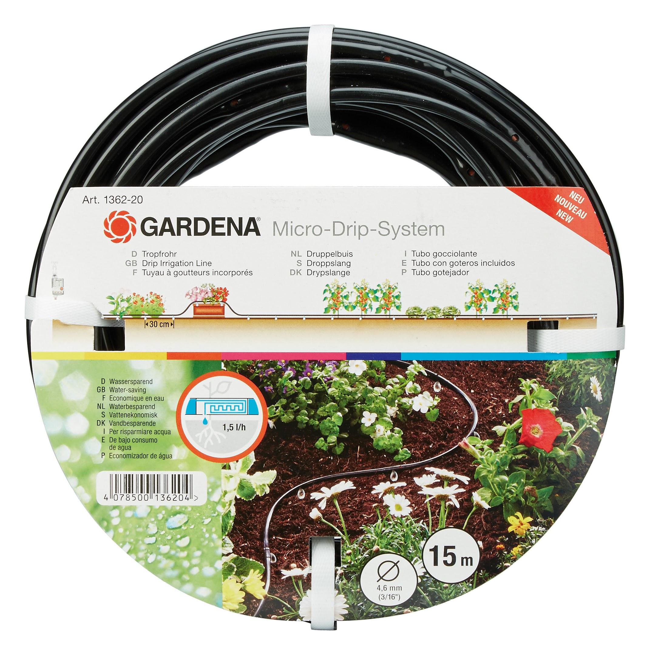 gardena tropfrohr oberirdisch 4 6 mm 3 16 15 m 1362 01362 20. Black Bedroom Furniture Sets. Home Design Ideas