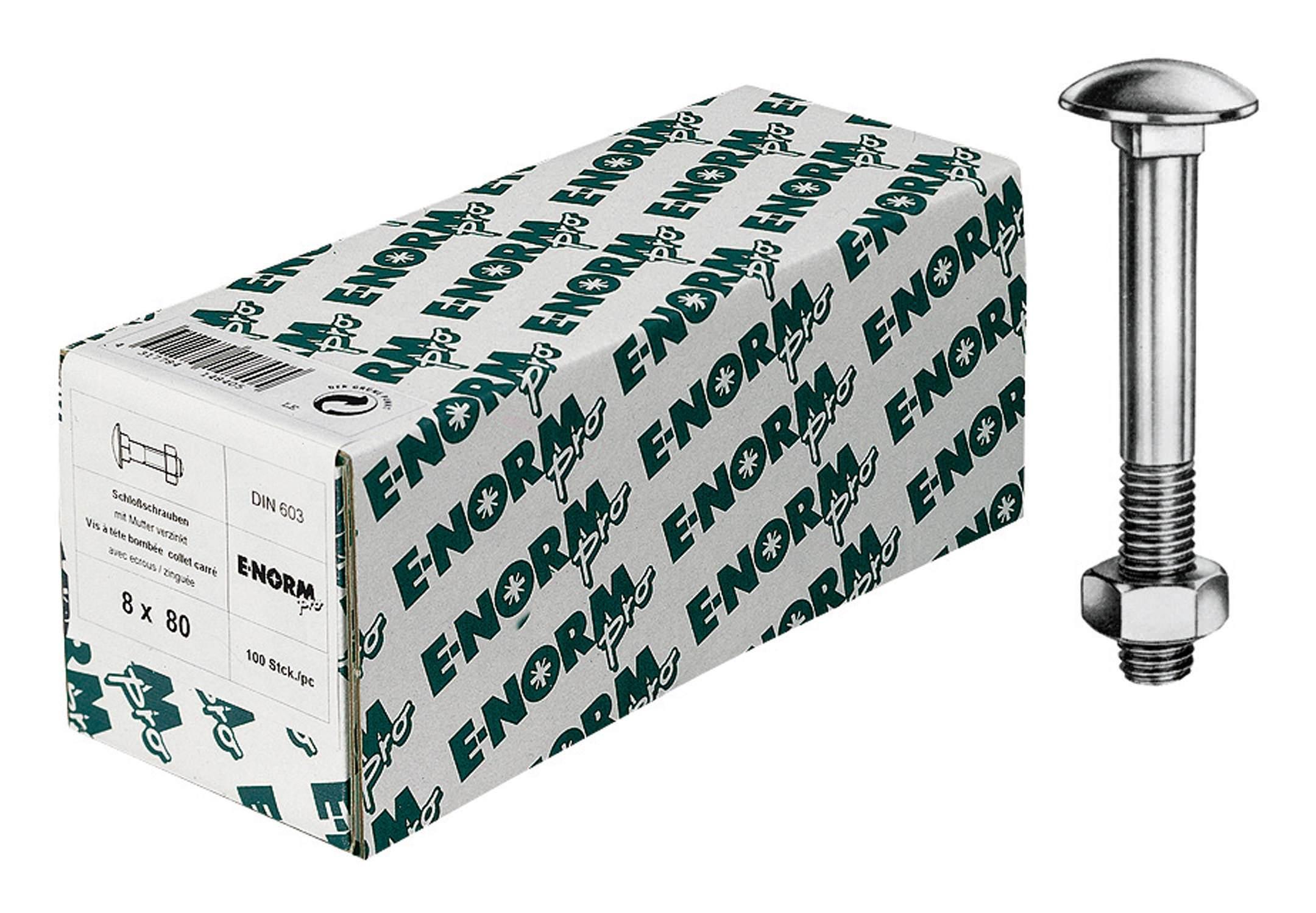 Stahl verzinkt 50 Stk Flachrundschraube mit Mutter DIN 603 M6 x 70