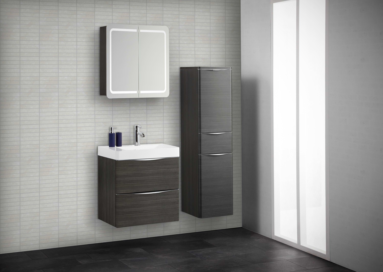 Scanbad samba komplettset 80cm mit spiegelschrank for Spiegelschrank rund