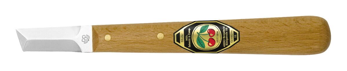 Kirschen Kerbschnitzmesser mit Weißbuchenheft mit gerader Klinge, dreischneidig - 3361000