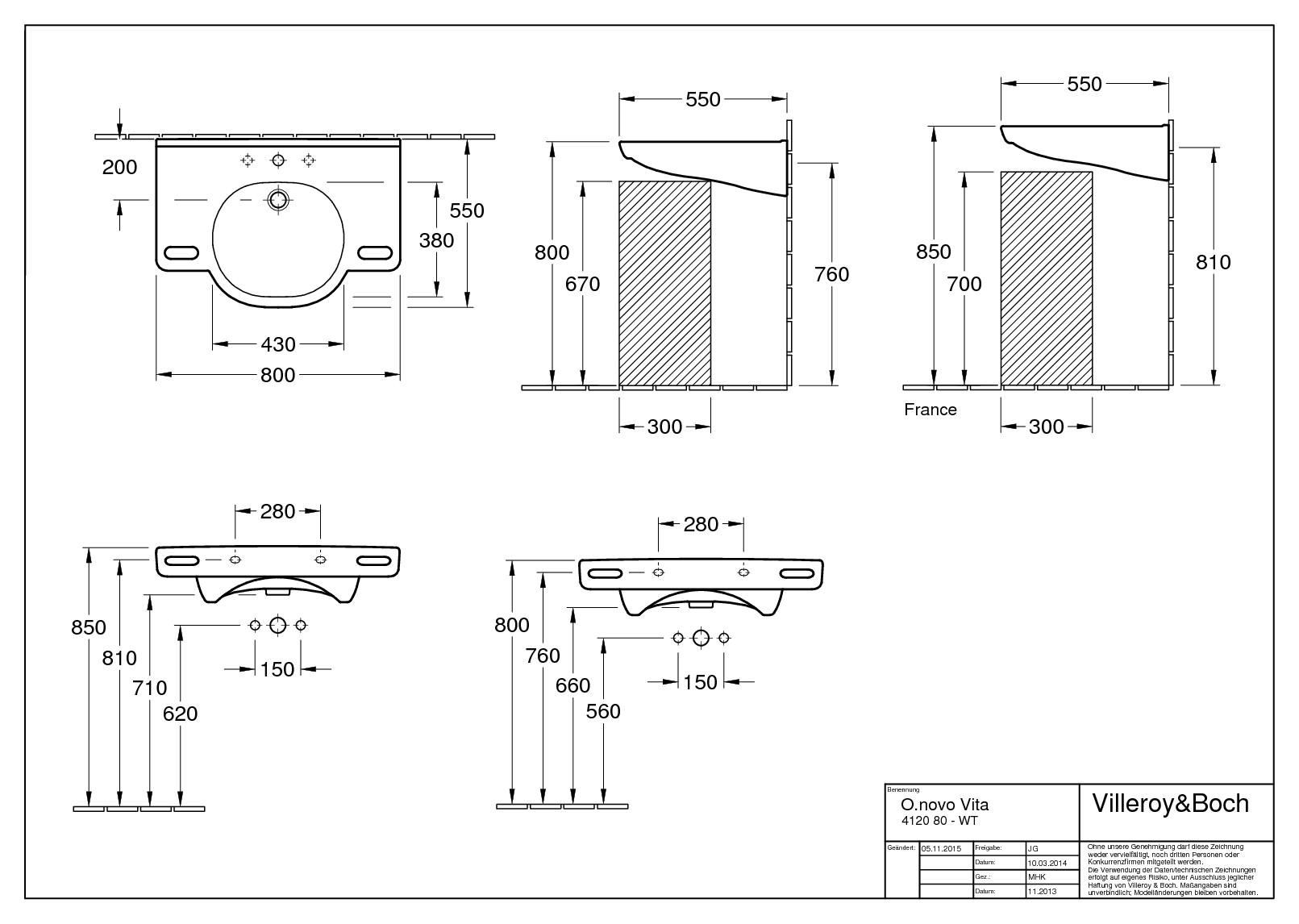 villeroy boch o novo vita waschtisch 800 x 550 mm mit hahnloch mit berlauf wei alpin 41208001. Black Bedroom Furniture Sets. Home Design Ideas