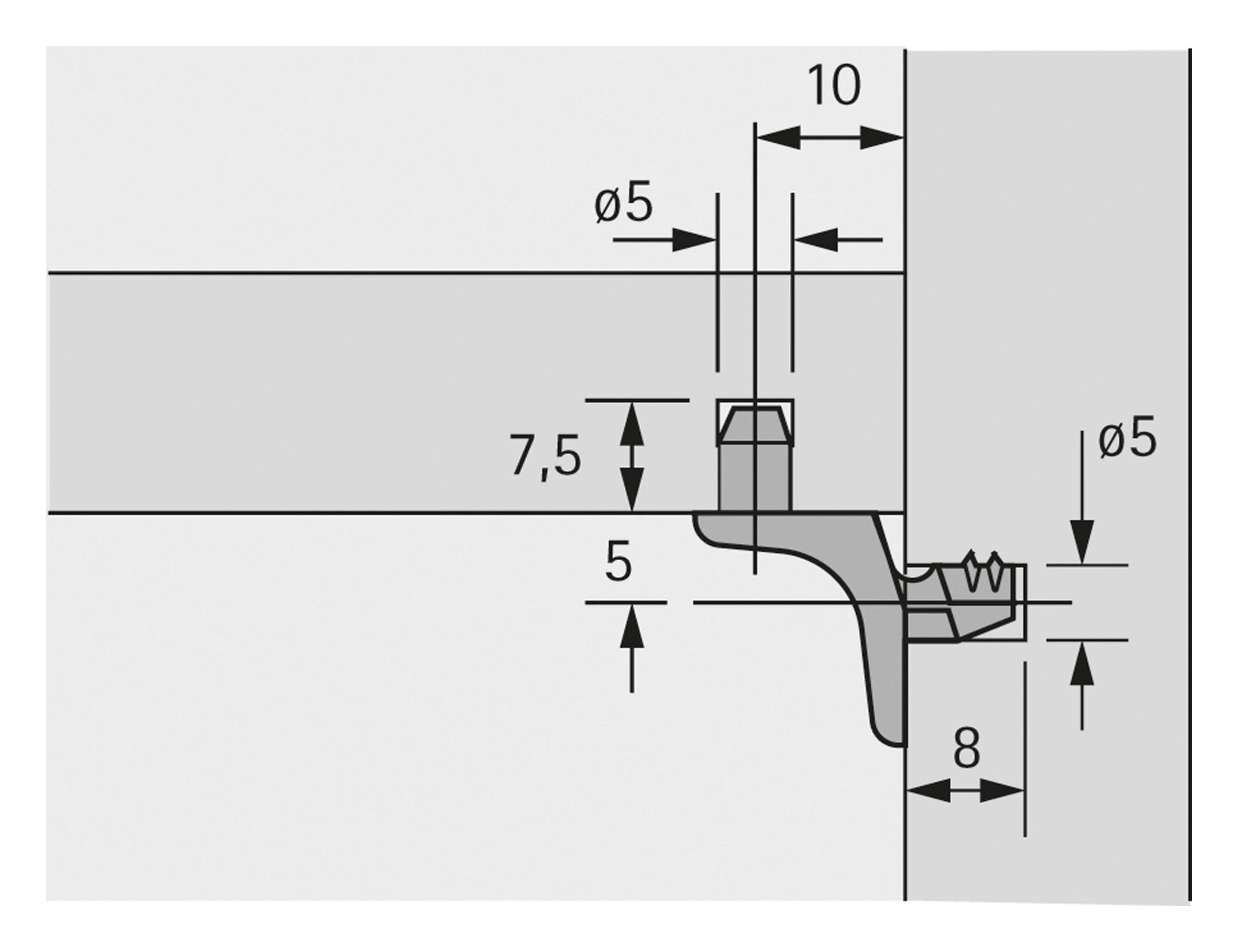 Hettich Bodentrger Sekura 1 Vernickelt 019557 Traeger Schematic