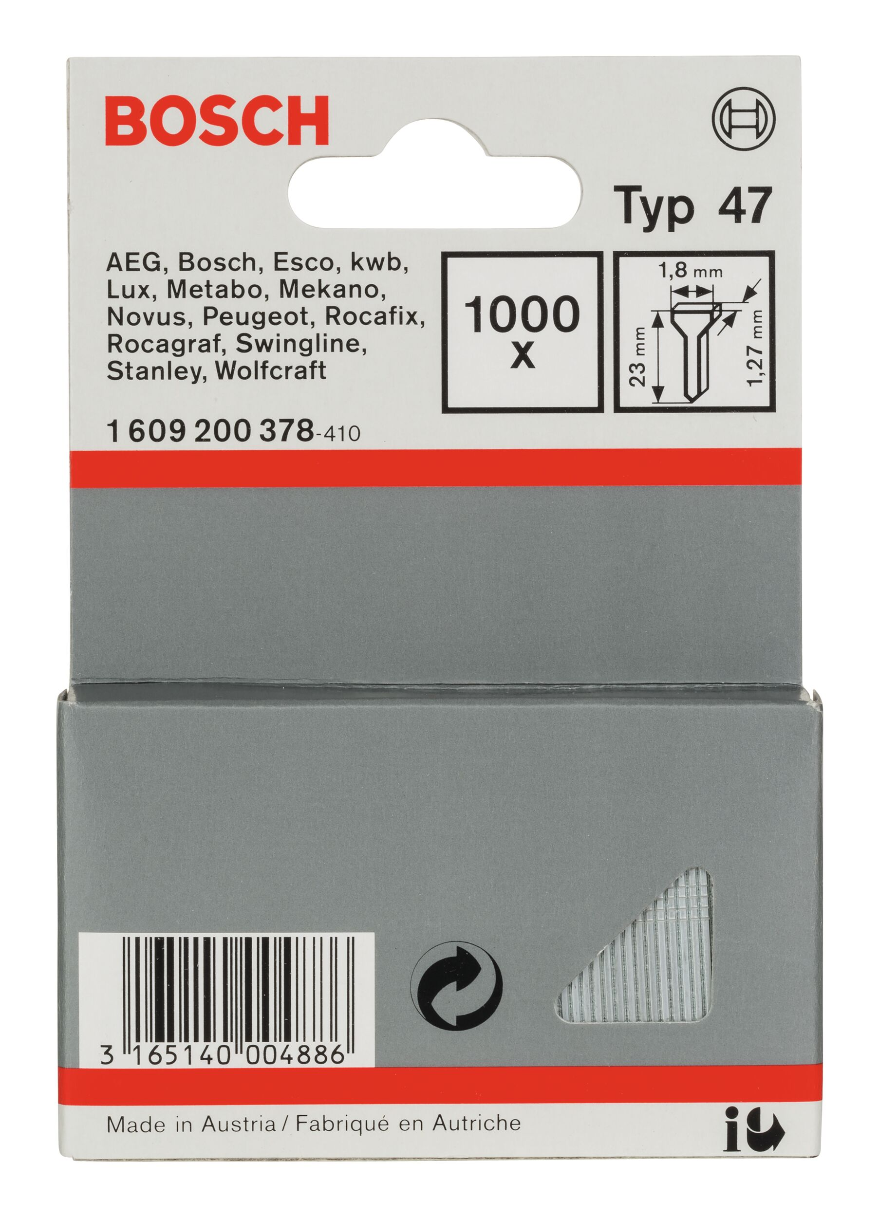 Bosch Zubehör Typ 47 Tackernagel - 1,27 x 23 x 1,8 mm -... 1609200378 (1.000 Stück)