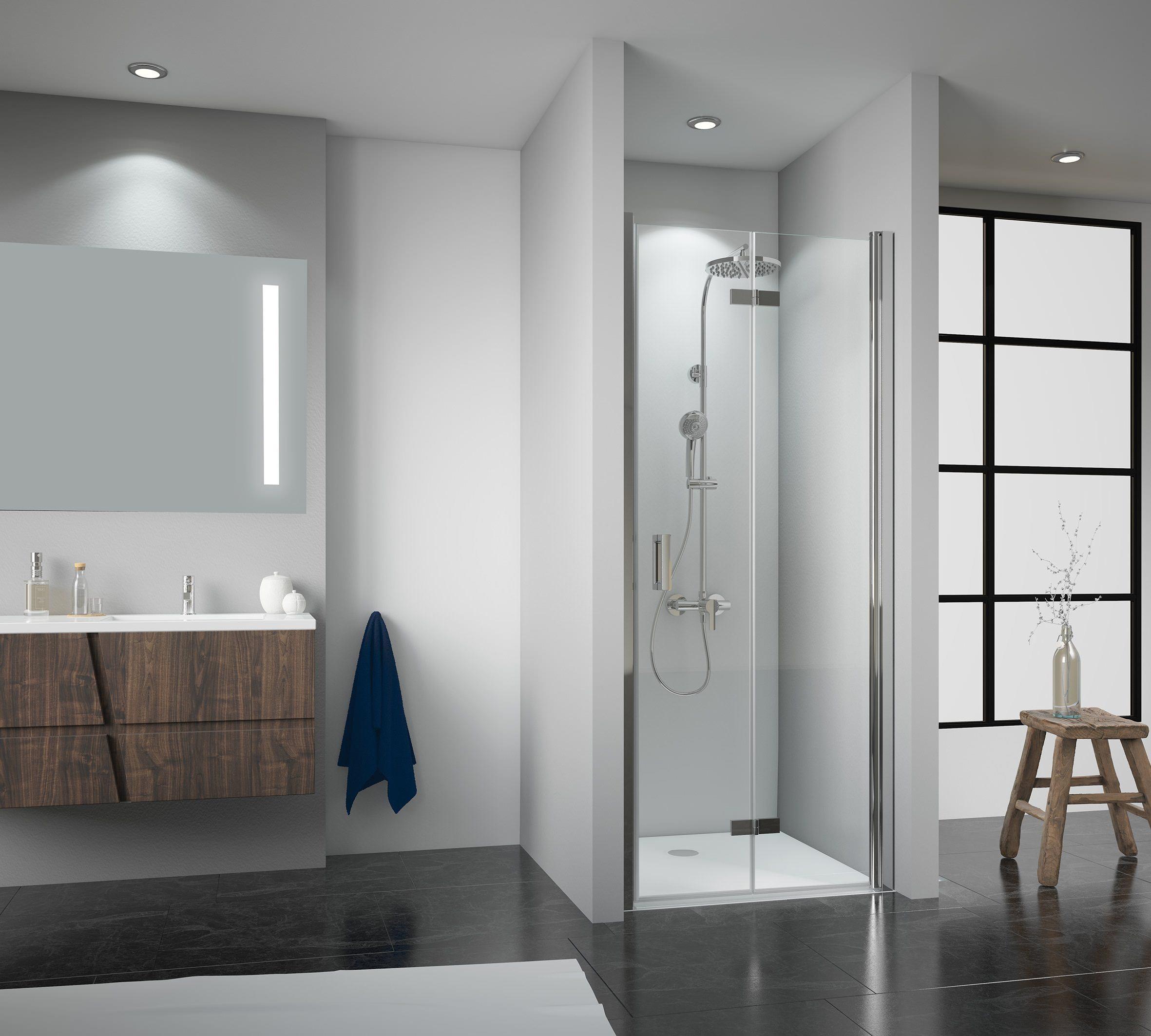 breuer panorama drehfaltt r f r nische klarglas hell alu chromeffekt 80cm 202 4cm anschlag. Black Bedroom Furniture Sets. Home Design Ideas