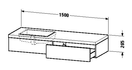 duravit delos waschtisch konsole 1500 x 265 x 565 mm mit 1 schubkasten f r einbauwaschtische. Black Bedroom Furniture Sets. Home Design Ideas