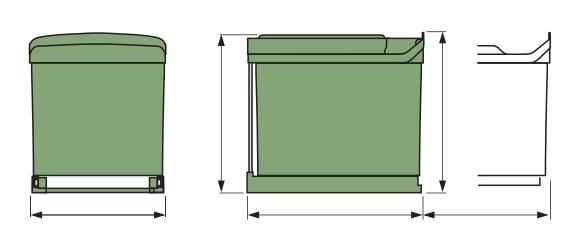 pyramis einbau abfallsammler sw 2 fach trennung kunststoff schwarz hellgrau m lleimer. Black Bedroom Furniture Sets. Home Design Ideas