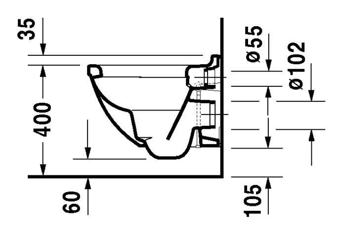 duravit starck 3 wand wc compact 360 x 485 mm tiefsp ler mit durafix wei 2227090000. Black Bedroom Furniture Sets. Home Design Ideas
