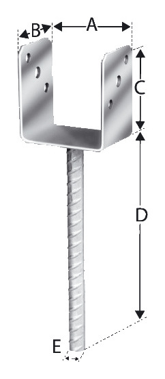 Pfostenhalter PPU50/40G-B - PPU50/40G-B (VPE: 20 Stück)