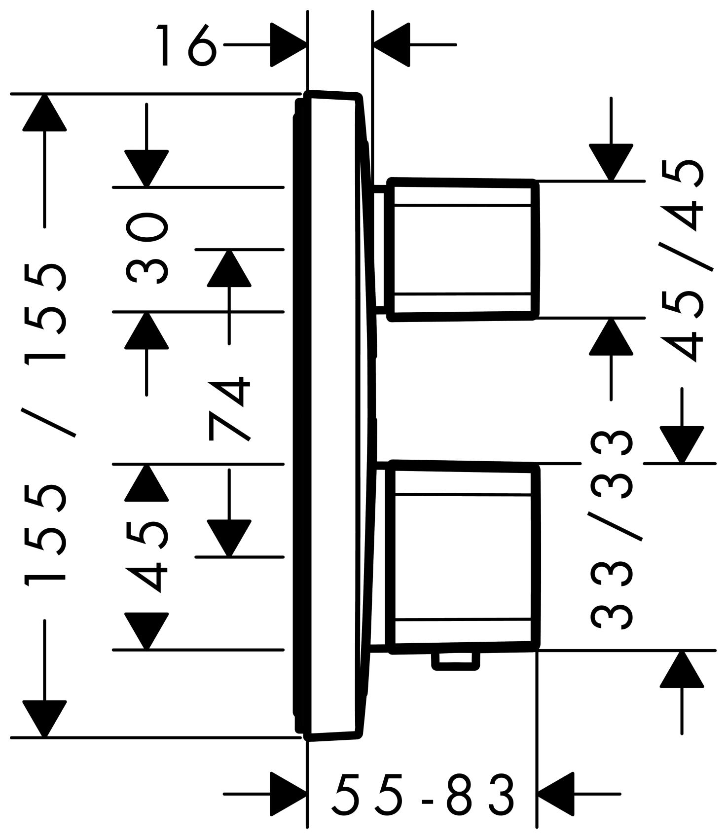 Hansgrohe Ecostat E Thermostat Unterputz Fertigset 2 Verbraucher