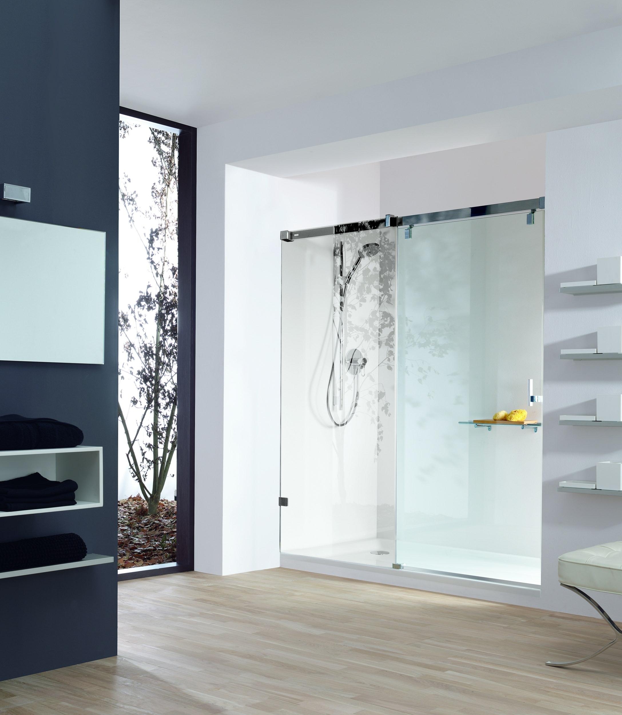 h ppe vista pure rahmenlos gleitt r 1teilig mit festem segment in nische chrom klarglas. Black Bedroom Furniture Sets. Home Design Ideas