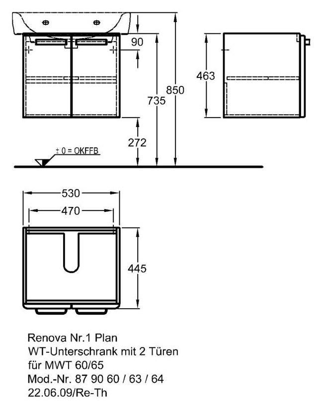 keramag renova nr 1 plan waschtischunterschrank 530mm x 445mm x 463mm korpus wei front. Black Bedroom Furniture Sets. Home Design Ideas