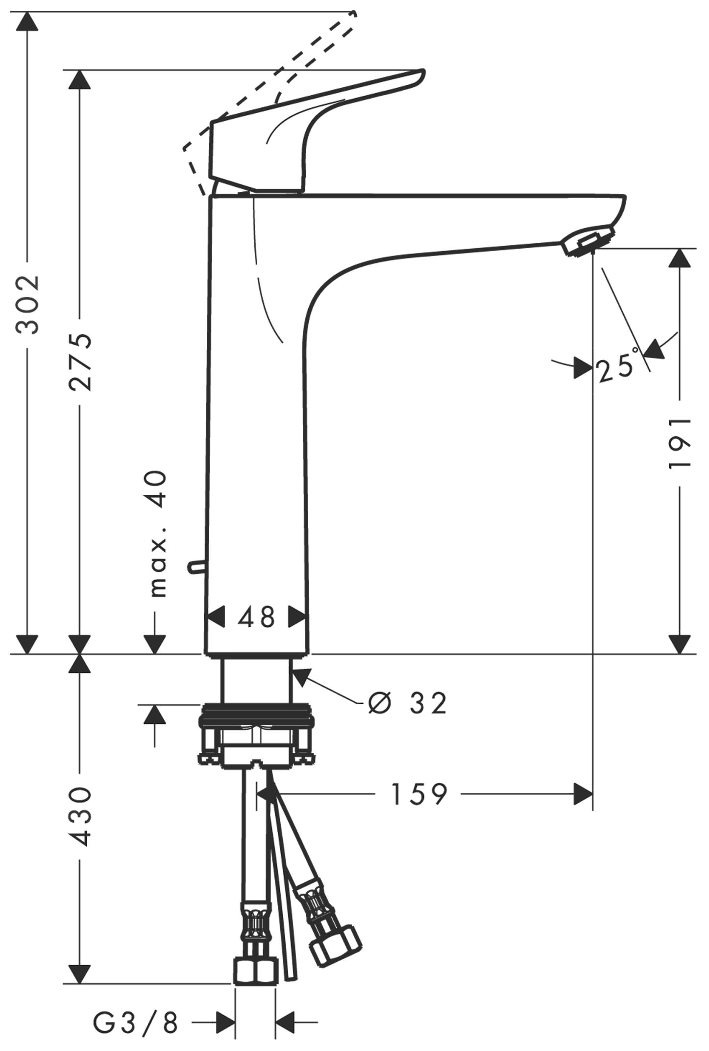 hansgrohe focus waschtischmischer 190 chrom 31608000. Black Bedroom Furniture Sets. Home Design Ideas