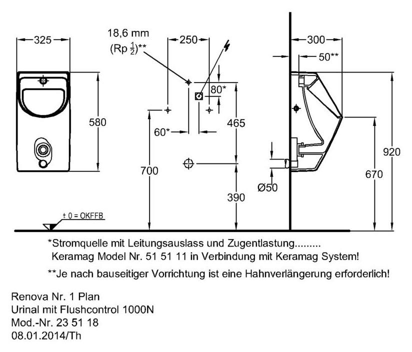 Keramag Renova Nr1 Plan Urinal 235118 Mit Flushcontrol 1000 N