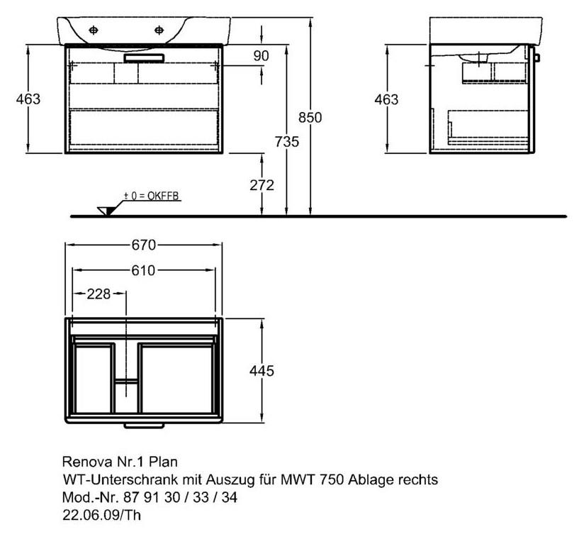 keramag renova nr 1 plan waschtischunterschrank 879130 670x463x445mm korpus wei front. Black Bedroom Furniture Sets. Home Design Ideas