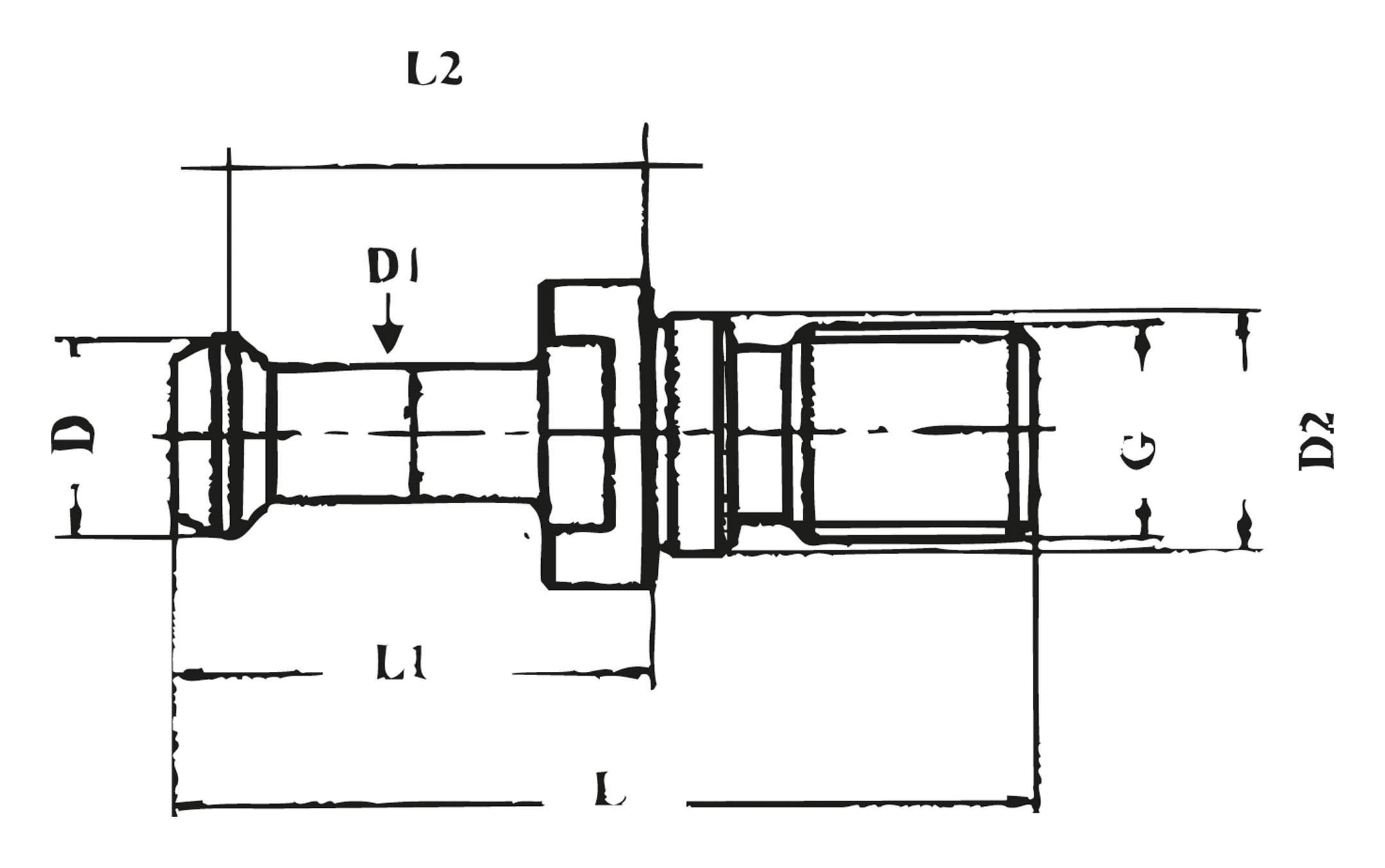 1 x Anzugsbolzen BT40-45 JIS 6339 mit Bohrung M16