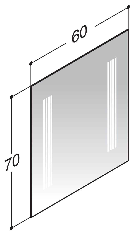 scanbad multo spiegel mit integrierter beleuchtung 60cm x 70cm 91460. Black Bedroom Furniture Sets. Home Design Ideas