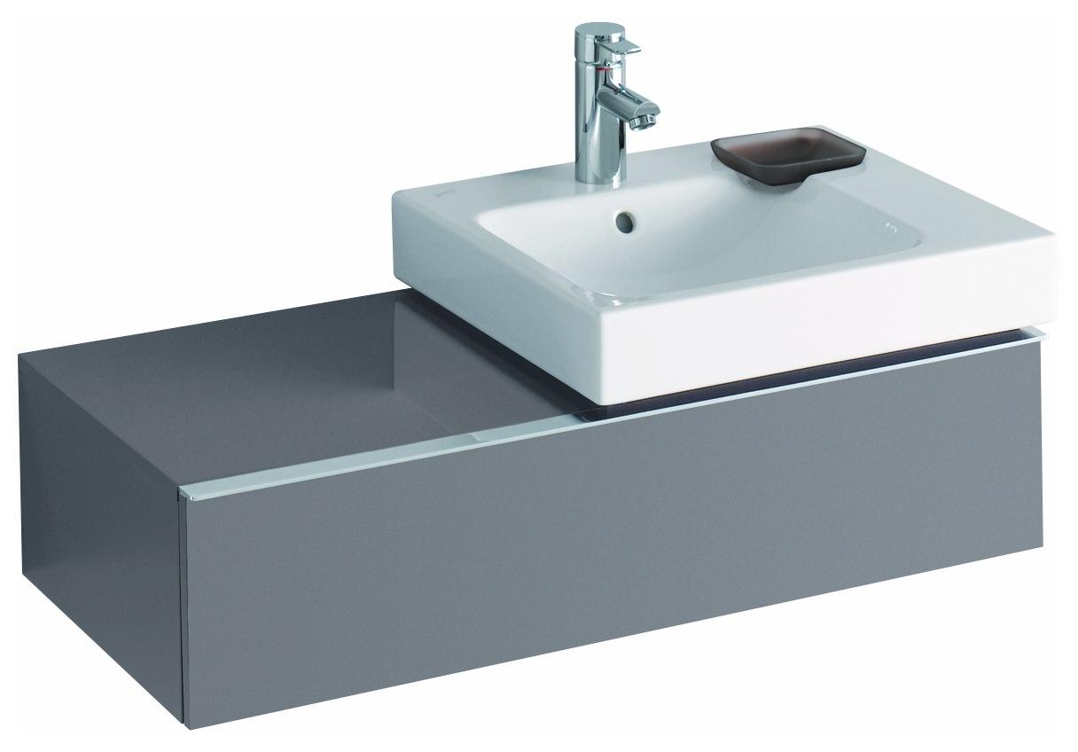 keramag icon waschtischunterschrank f r waschtisch 124050 890x240x477mm platin hochglanz. Black Bedroom Furniture Sets. Home Design Ideas