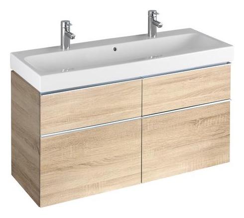 keramag icon waschtisch mit zwei hahnl chern 1200mm x 485mm wei alpin 124020000. Black Bedroom Furniture Sets. Home Design Ideas