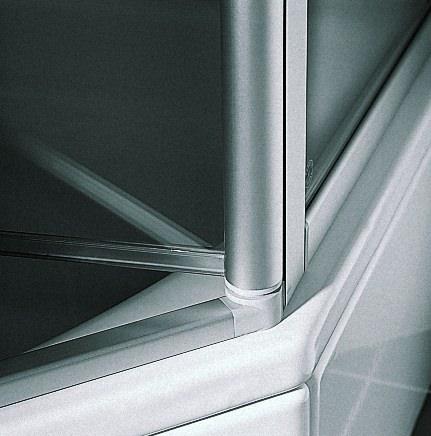 kermi ibiza 2000 pendelt r 2 teilig mit festfeld f r nische oder seitenwand klarglas hell silber. Black Bedroom Furniture Sets. Home Design Ideas