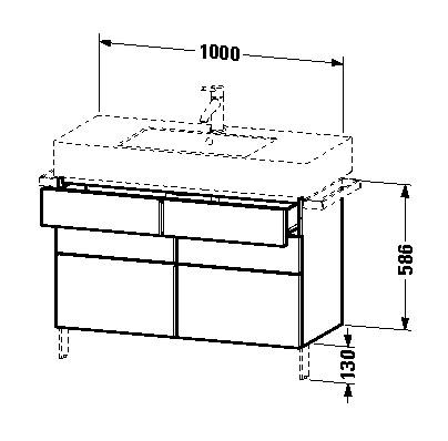 duravit vero waschtischunterschrank stehend 1000 x 581 x 446 mm mit 2 schubk sten und 1 auszug. Black Bedroom Furniture Sets. Home Design Ideas