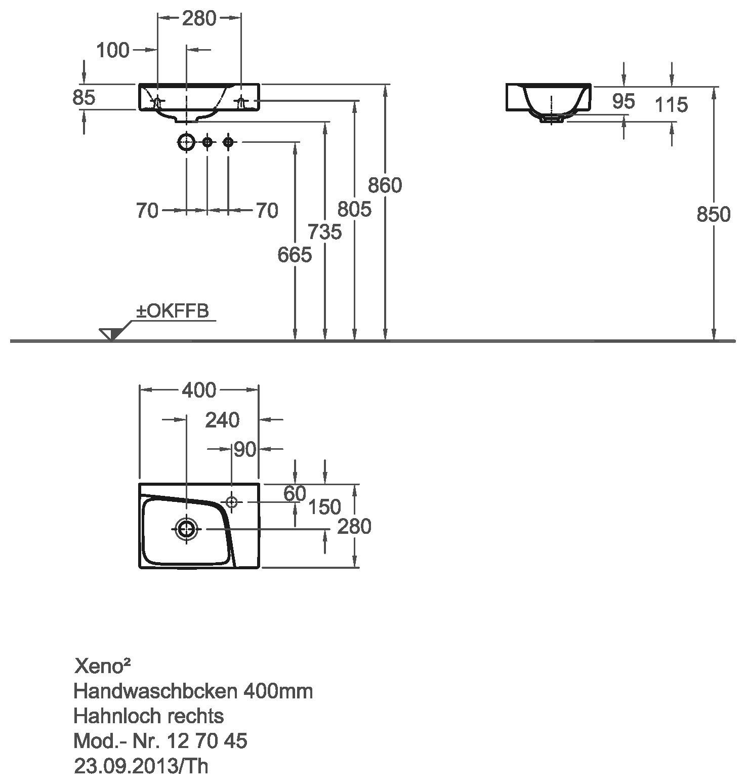 keramag xeno2 handwaschbecken 400mm x 280mm ohne berlauf hahnloch rechts wei alpin keratect. Black Bedroom Furniture Sets. Home Design Ideas