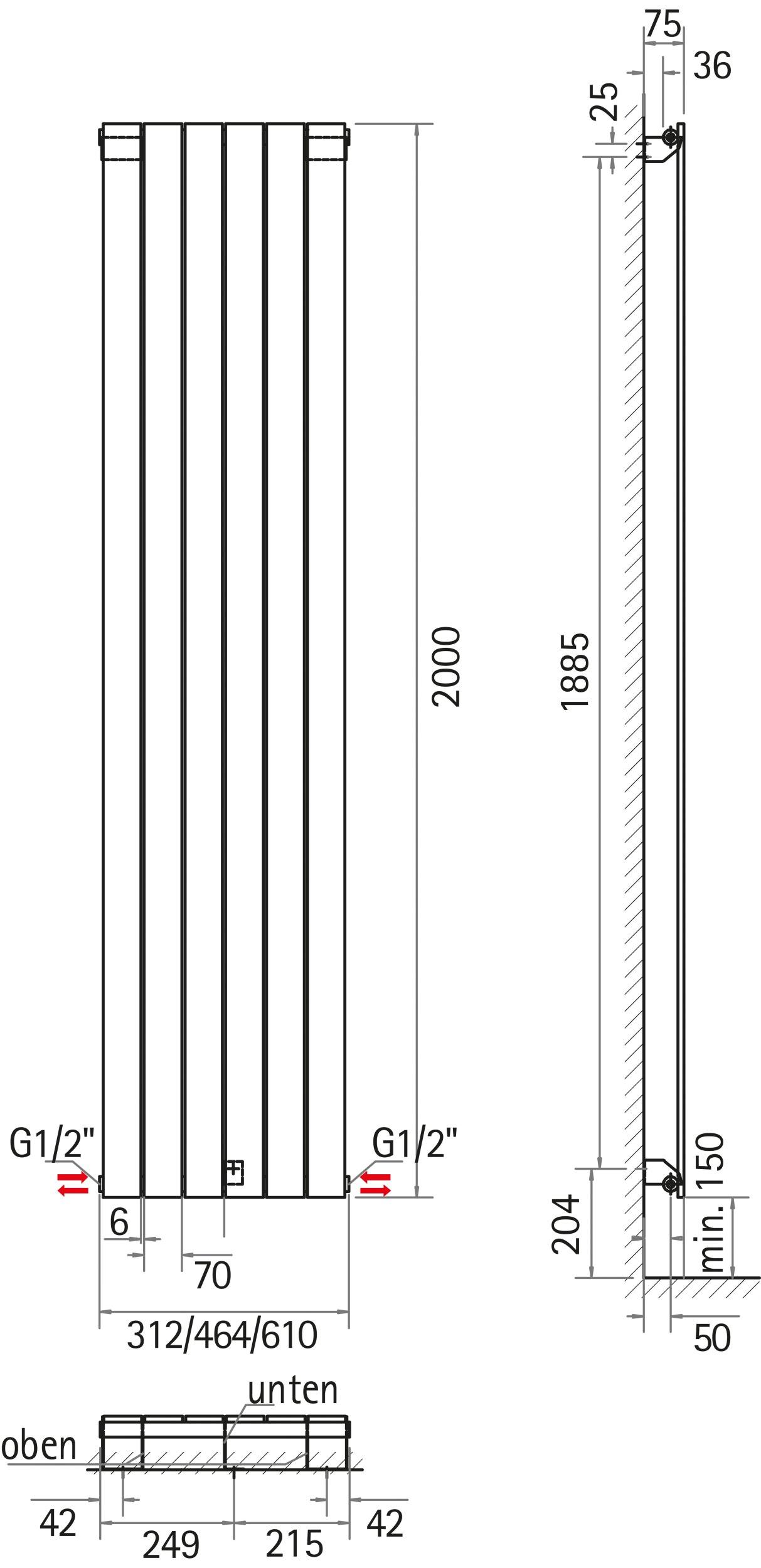 schulte aachen design heizk rper 2000mm x 464mm alpinwei mittelanschluss h3320046 m 04. Black Bedroom Furniture Sets. Home Design Ideas