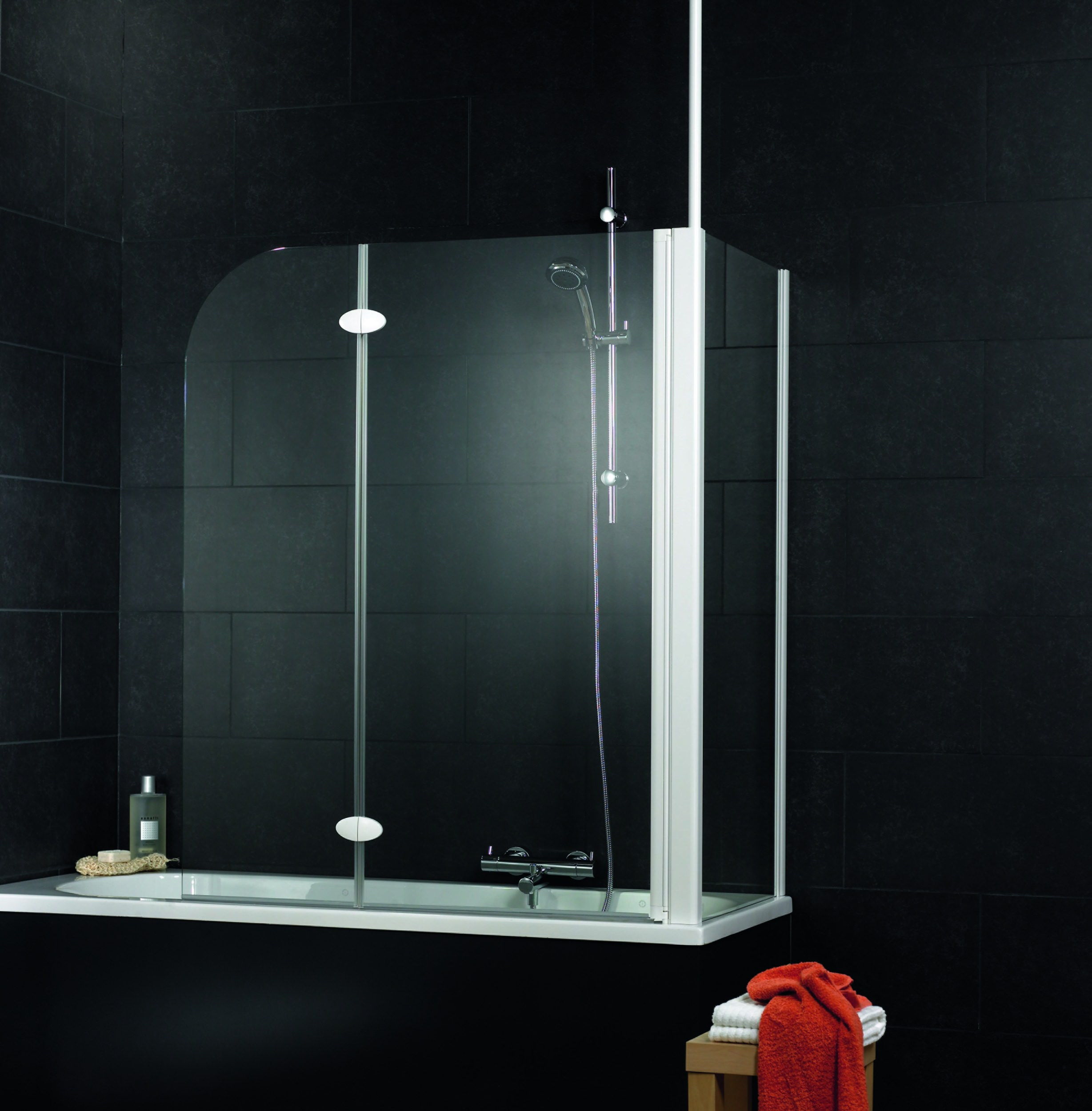 schulte komfort badewannenfaltwand 2 teilig mit seitenwand klar hell alunatur 1145mm d3380 01. Black Bedroom Furniture Sets. Home Design Ideas
