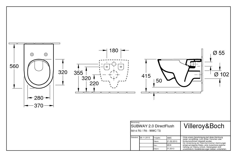 Beliebt Villeroy & Boch Subway 2.0 Tiefspülklosett Wand-WC ohne Spülrand QH53